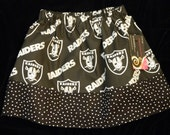 Girls Oakland Raiders Skirt Size 3 Years  hand made  ready to ship