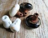 Vintage Porcelain Glass Door Knobs.  Vintage Porcelain Glass Hot Cold Knobs.  Black White Ceramic Knobs.