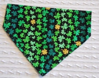 Lucky Dog Bandana with Shamrocks in Over Collar Style Sizes XS to L