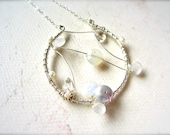 Heavenly Constellation Necklace - moonstone necklace, abstract dreamcatcher necklace, one of a kind rainbow moonstone ethereal necklace