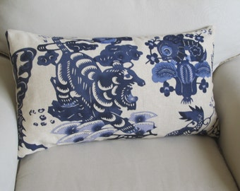 BLUE  DRAGONS  Pillow Cover 14x26 three available in same pattern placement
