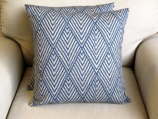 Ikat sapphire BLUE decorative pillow cover 18x18 20x20 22x22