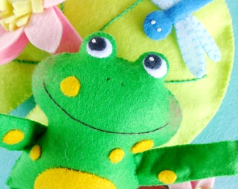 Felt Frog Softies Sewing Pattern - PDF ePATTERN for Frogs, Lily Pad, Lily & Dragonfly Play Set