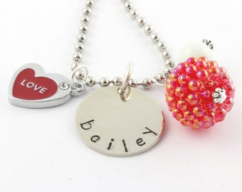 Red Love Heart Personalized Charm Necklace for Girls - Hand Stamped Heart Necklace - Valentine's Day Gift For Children