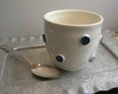Handleless Mug with Cobalt Blue Dots