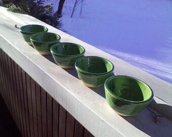 Set of Five Green Bowls