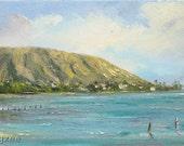 MAUNALUA MORNING Original Oil Painting 6x12 Art Artwork Tropical Bay Portlock Beach Oahu Hawaii Kai Hawaiian Palm Tree Ocean