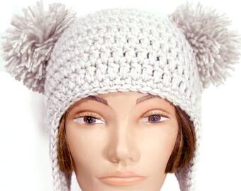 Baby Bear Hat - Adult Earflap Pom-Pom Beanie