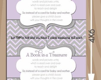 Chevron Lavender Gray Book Request 4x3 insert card - book insert - Baby Girl Shower  - 2 per 4x6 Printable Design