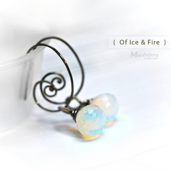 Of Fire & Ice - Opalite - Wire Wrapped Briolette Blackened Sterling Silver Hoop Earrings
