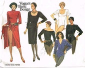 1986 Vogue Basic Design Bodysuit and Skirt Pattern No 1744 Size 10