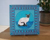 ART ON A BOX    A Keepsake / Jewelry box / Memory Box / Jewellery A unique Hand Painted design Decorated with a Siamese Cat