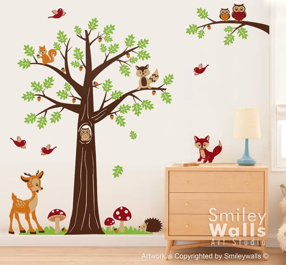 nursery wall decal woodland forest animals wall decal tree rmk2643scs woodland friends wall stickers