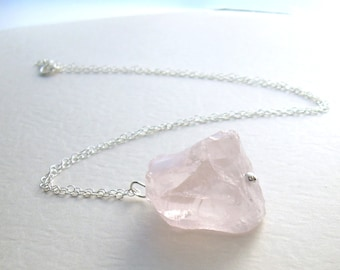 Rose Quartz Necklace, Pink Stone Pendant, Raw Crystal Jewelry