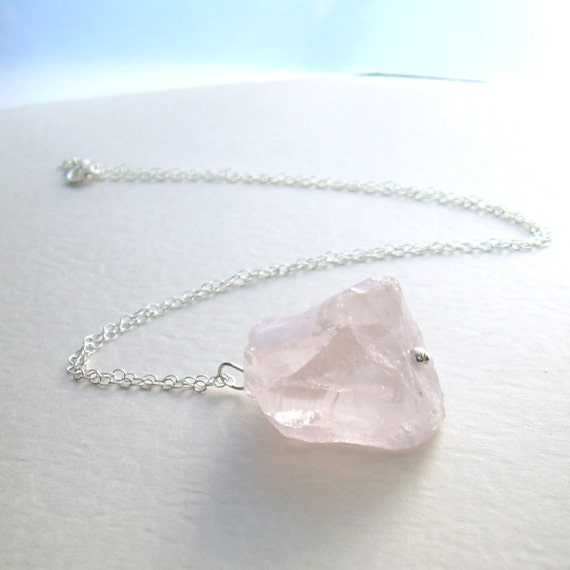 Rose Quartz Necklace, Pink Stone Pendant, Raw Crystal Jewelry