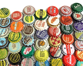 50 Vintage & Vintage Inspired Random Bottle Caps Collectible Craft Jewelry Coke Soda Bottlecaps