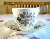 Pretty English Regency Autumn Tea Cup Teal, White Flower Design