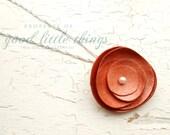 Leather Flower Pendant Necklace
