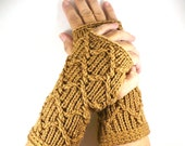 Knit Hand Warmers Light Brown Cable Gloves Tan Fashion Accessories Winter Gloves Warm Gloves Texting Gloves Driving Gloves Knit Handwarmers