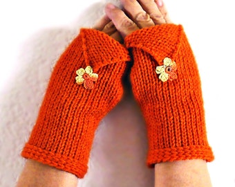 Knit Fingerless Mittens Orange Texting Gloves Pumpkin Fall Fashion Gloves, Warm Womens Gloves Winter Accessories Fall Colors Colorful Gloves
