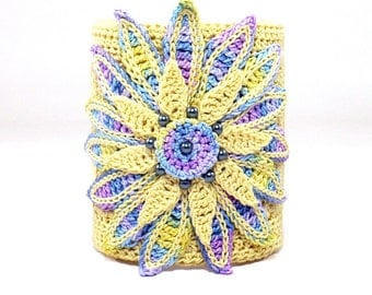 On Sale Marked Down 25% Crochet Cuff Bracelet Irish Crochet Bracelet Daisy Yellow Blue Purple Violet Fiber Art Bracelet Flower Bracelet