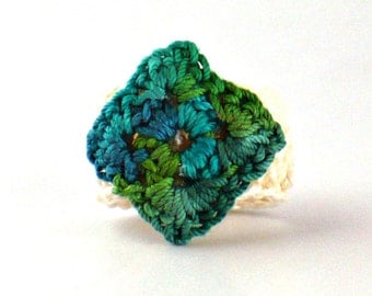 Crochet Ring Fiber Ring  Miniature Diamond Granny Square Green Ecru