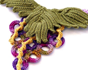 Crochet Necklace Irish Crochet Bib Necklace Vineyard Grapes Statement Necklace Gold Olive Lavender Berry Crochet Jewelry I-cord Necklace