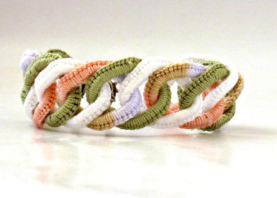 Crochet Bracelet Fiber Bracelet  Faux Chainmail Irish Crochet Peach Sage White Wisteria