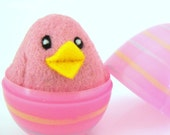 Needle Felted Pink Chick in an Egg - Needle Felted Wool toy - Waldorf - Bird - Easter
