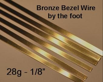 28 g BRONZE Bezel Wire Strip 1/8 inch width by the foot - Dead Soft Temper