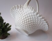 Vintage Fenton Milk Glass Hobnail Basket - Cottage Chic