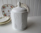 Vintage Colony Harvest Milk Glass Canister