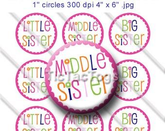 Little Middle Big Sister Bottle Cap Images 1 Inch Circles Digital JPG Colorful Scalloped Flower - Instant Download - BC334