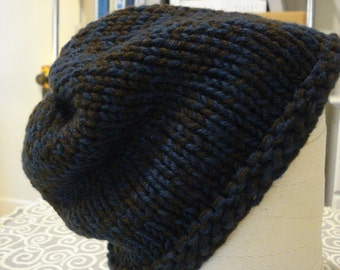 Blue and brown knit bulky hat