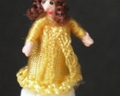 144th scale Lady in Gold  - micro-miniature, posable doll