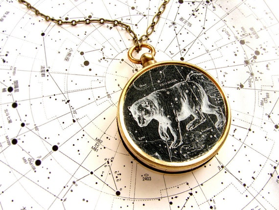 Ursa Major Constellation Compass Necklace, Personalized vintage Big Dipper celestial star long necklace true north