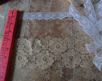 """2 Vintage Flat lace Trims - WIde Beige and 1"""" white lace"""