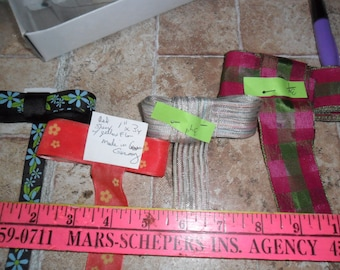 4 Assorted Ribbon trims - floral and plaid