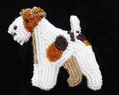 Beaded WIRE FOX TERRIER dog pin pendant art jewelry necklace (Made to Order) Free Usa Shipping