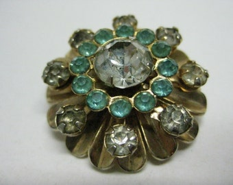 Flower Turquooise Rhinestone Gold Brooch Vintage Pin