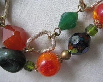 Orange Green Necklace Choker Vintage Gold Aurora