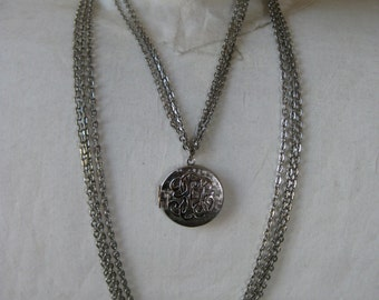 Silver Chain Locket Necklace Vintage Pendant