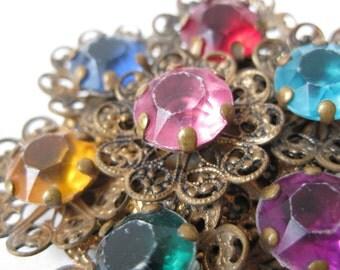 Shabby Flower Colorful Filigree Brooch Gold Rhinestone Vintage Pin