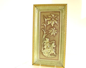 Vintage Mid Century Framed Art - Metalcraft Jade Four Seasons Winter Bas Relief Picture in Green and Gold