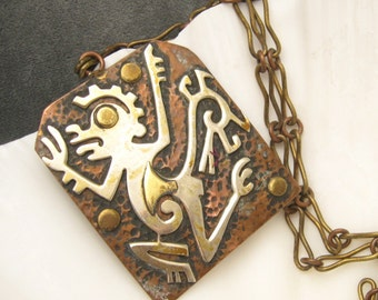 Vintage Pendant Necklace Mixed Metals N5050