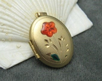 Vintage Locket Enamel Flower Pendant Jewelry C5086