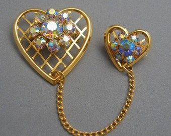 Vintage Chatelaine Heart Pin Aurora Borealis Rhinestones P909
