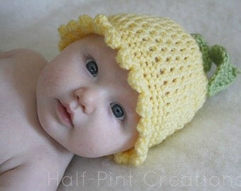 Baby Crochet Hat - flower hat - Easter hat - Coming home Outfit- Infant hats for girls- toddler hats for girls - coming home hat - buttercup