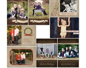 Holiday Traditions Holiday Cards - Photoshop Templates for Photographers - Set of 4 Cards (8 PSD Files) CS6010