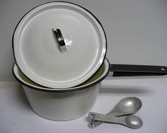 Vintage White and Black Enamel Saucepan with Lid